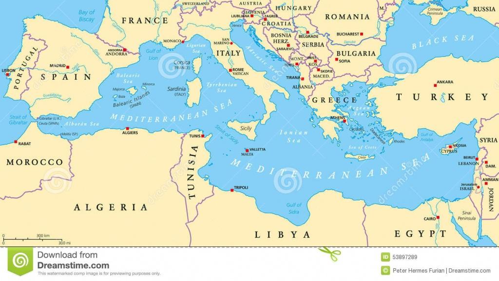 Mediterranean Sea Region Political Map Stock Vector - Illustration - Printable Map Of The Mediterranean Sea Area