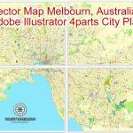 Melbourne, Australia In Adobe Illustrator, Printable Vector Street 4 Parts  City Plan Map, Fully Editable   Melbourne City Map Printable