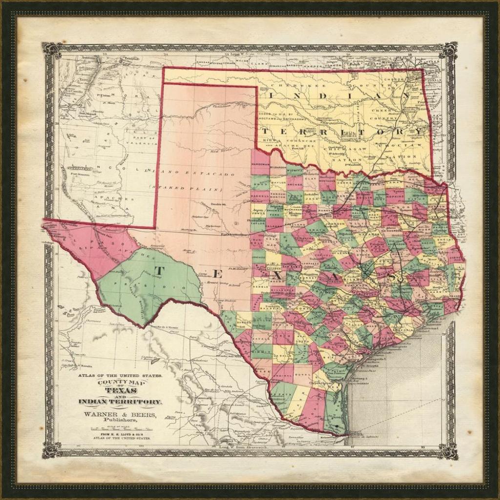"Melissa Van Hise 32 In. X 32 In. ""vintage Map Of Texas"" Framed - Framed Texas Map"