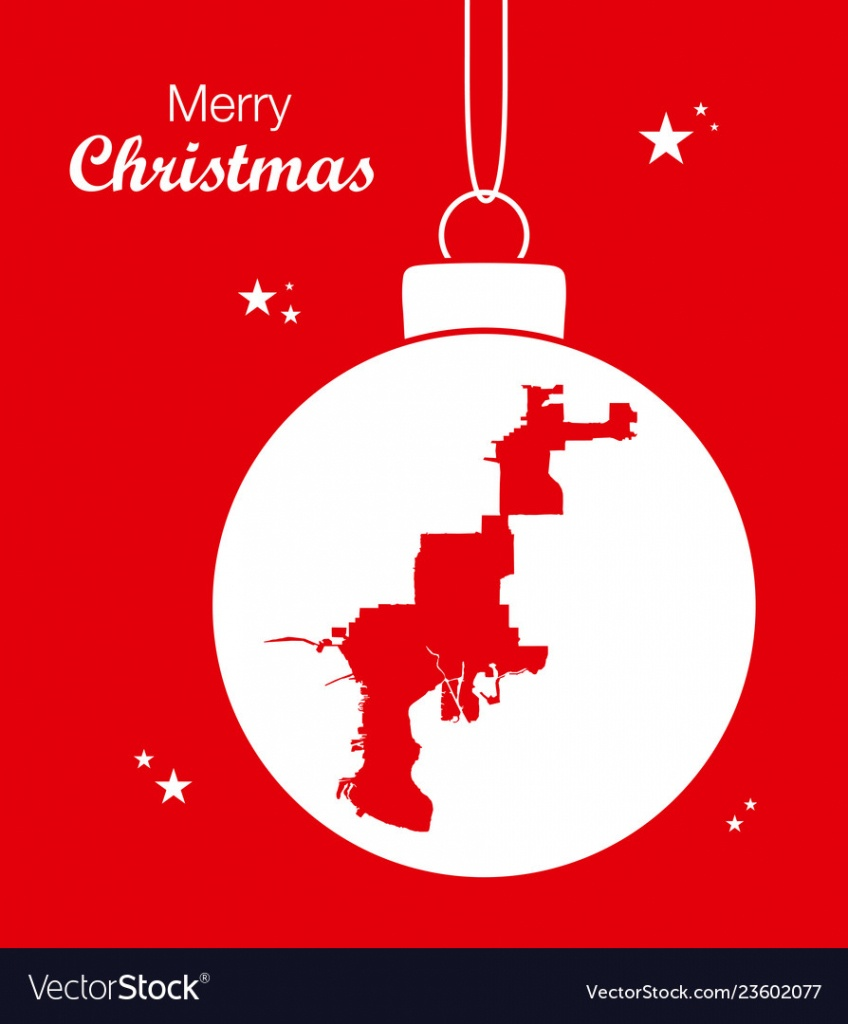 Merry Christmas Theme With Map Of Tampa Florida Vector Image - Christmas Florida Map
