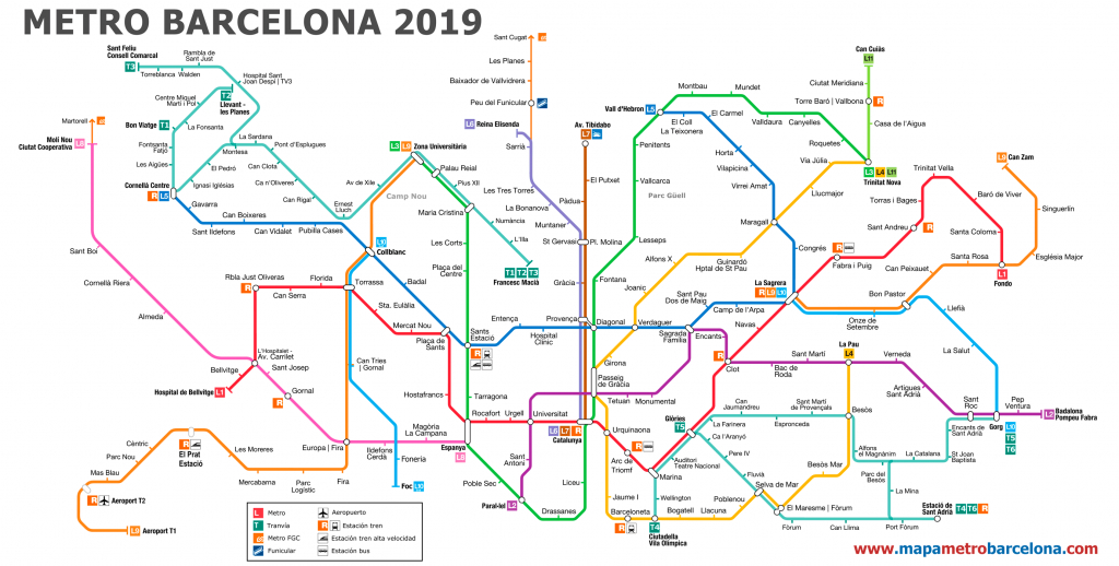 Metro Map Of Barcelona 2019 (The Best) - Barcelona Metro Map Printable