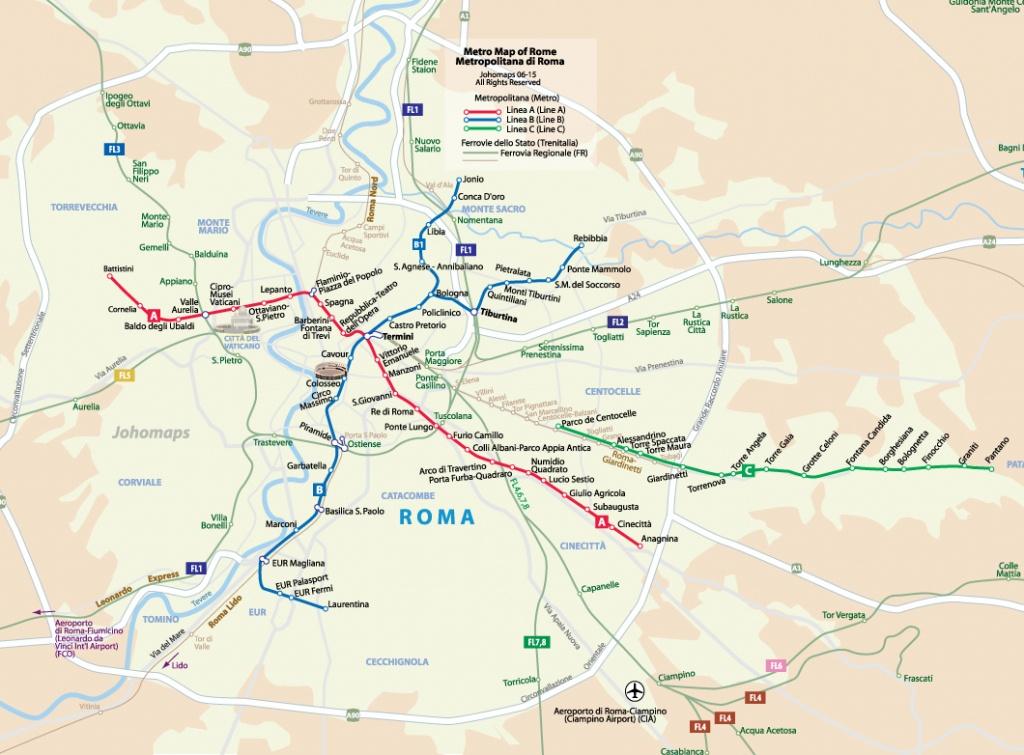 Metro Map Of Rome - Johomaps - Printable Rome Metro Map