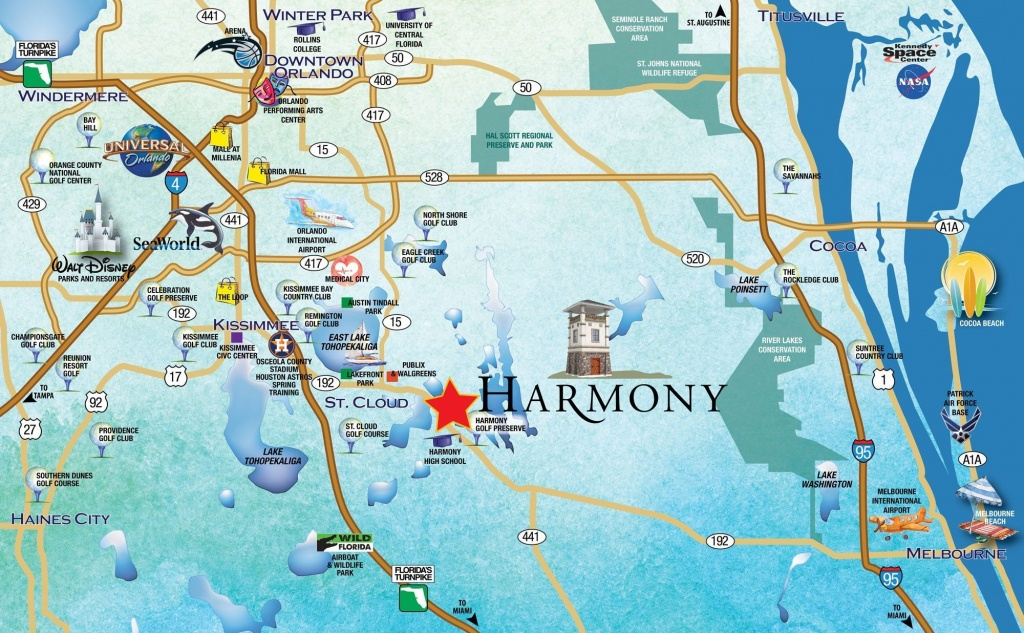 Metro-Orlando-Map-2 - Harmony, Fl - Orlando Florida Location On Map