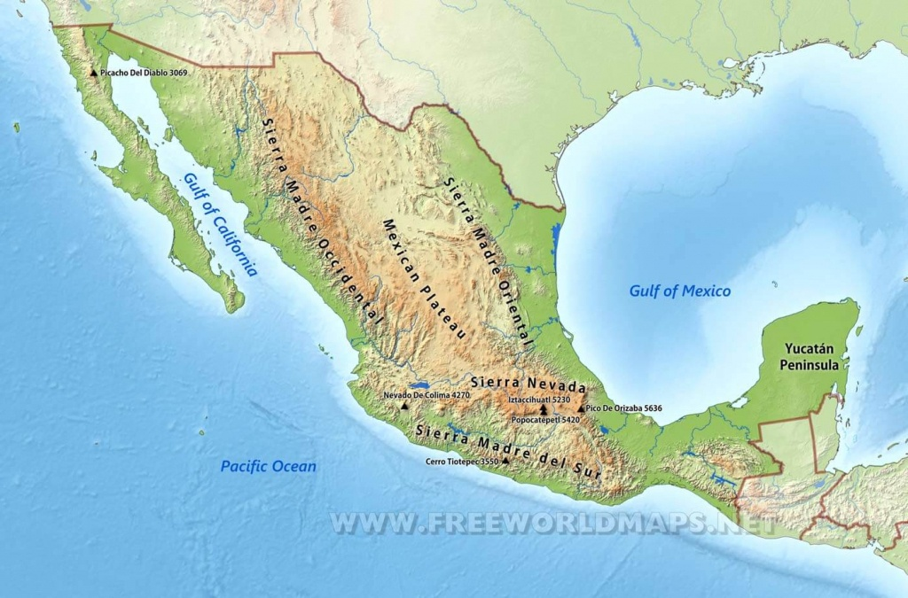 Mexico Physical Map - Map Of Southern California And Northern Mexico