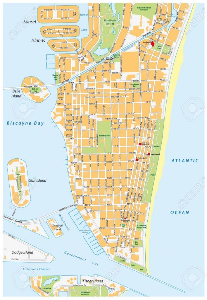 Miami Beach Detailed Vector Street Map With Names, Florida, Royalty - Sunny Isles Beach Florida Map