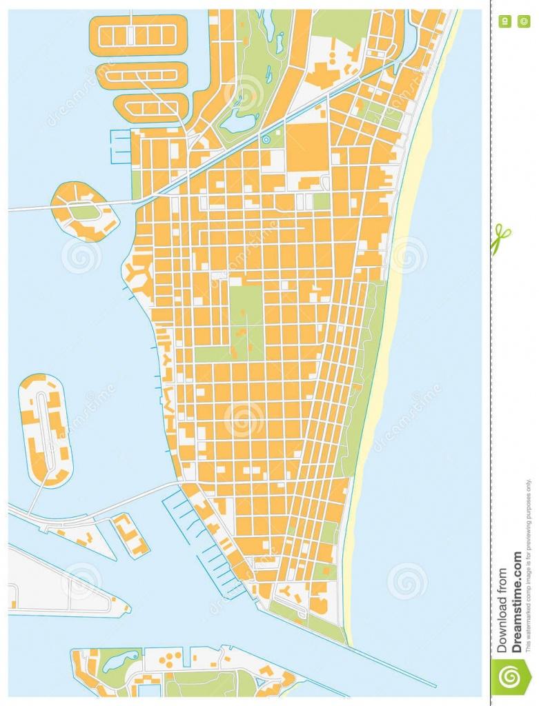 Miami-Beach Street Map, Florida Stock Illustration - Illustration Of - Map Of Miami Beach Florida