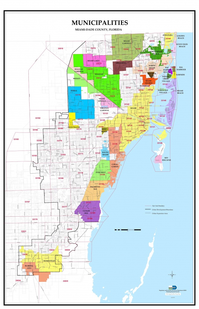 Miami-Dade County Florida Zip Code And Municipalities Map - Map Of Dade County Florida