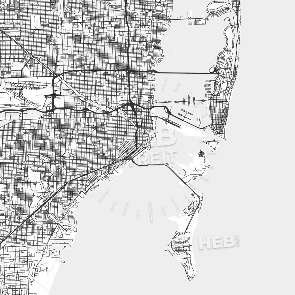 Miami, Florida - Area Map - Light | Hebstreits Sketches - Map Of Miami Florida And Surrounding Areas