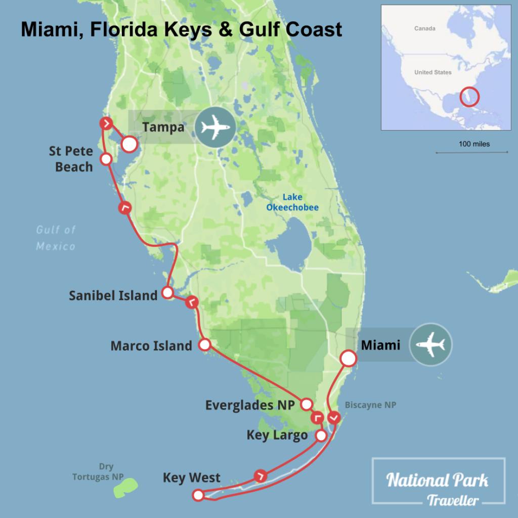 Miami, Florida Keys And Gulf Coast | National Park Traveller - Map Of Florida Keys And Miami