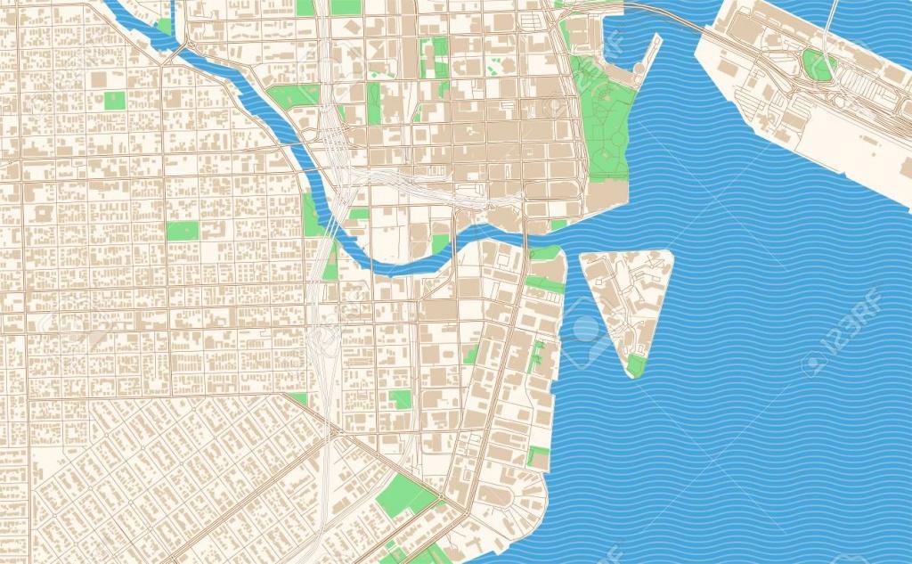 Miami Florida Printable Map Excerpt. This Vector Streetmap Of - Street Map Of Downtown Miami Florida
