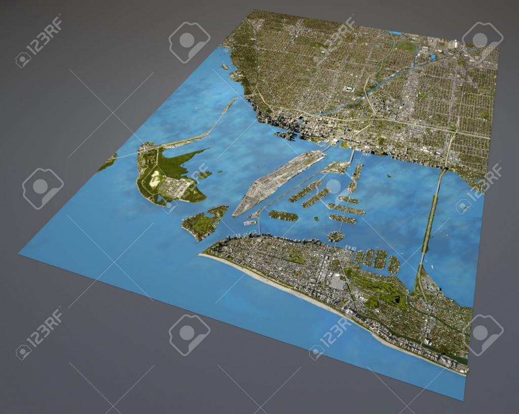 Miami Map, Satellite View, Aerial View, Florida, United States Stock - Satellite Map Of Florida