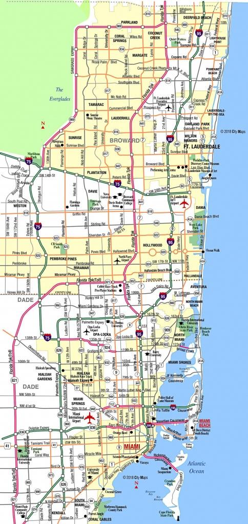 Miami Metropolitan Area Highways - Aaccessmaps - Street Map Of Downtown Miami Florida