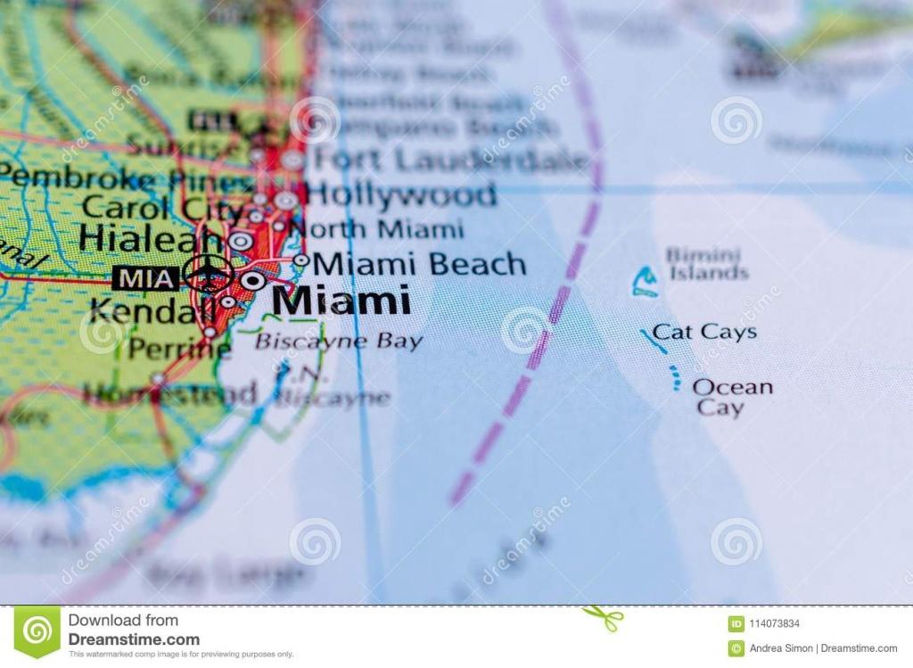 Miami On Map Stock Photo. Image Of Paper, Journey, Region - 114073834 - Florida Atlantic Coast Map