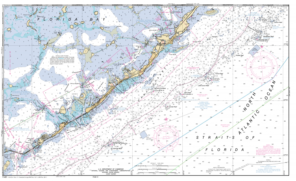 Miami To Marathon And Florida Bay Page E Nautical Chart - Νοαα - Florida Keys Marine Map