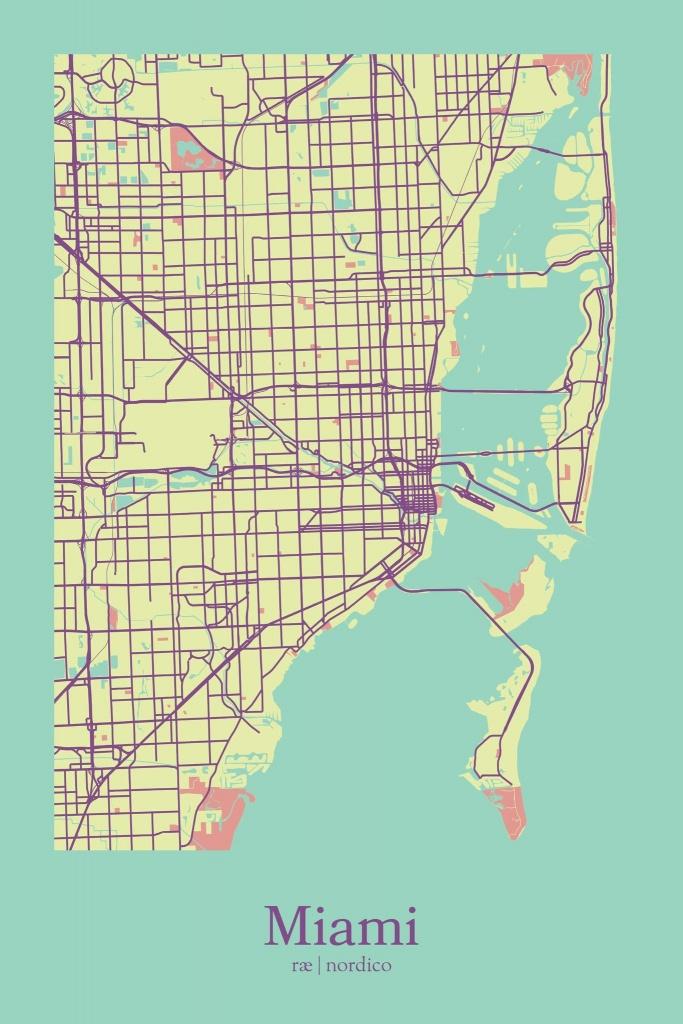 Miami, Usa Map Printrae Nordico #map #miami #florida | City Maps - Miami Florida Map
