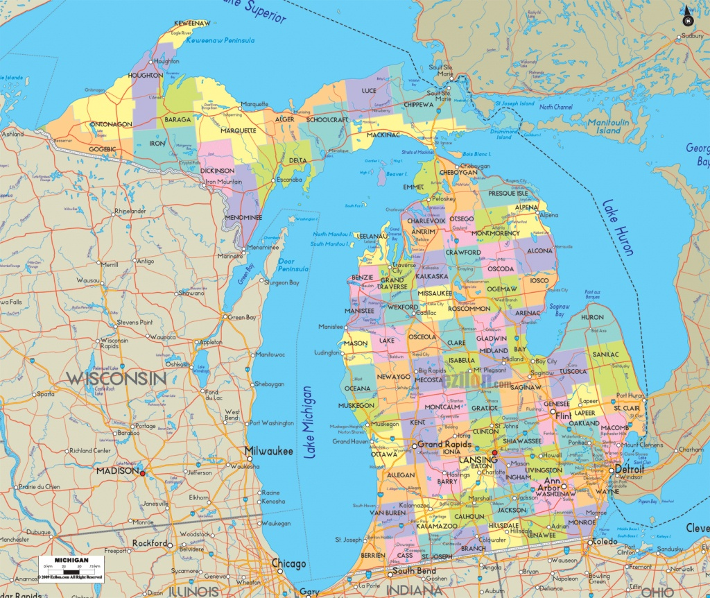 Michigan County Map For Large Detailed Of With Cities And Towns - Michigan County Maps Printable