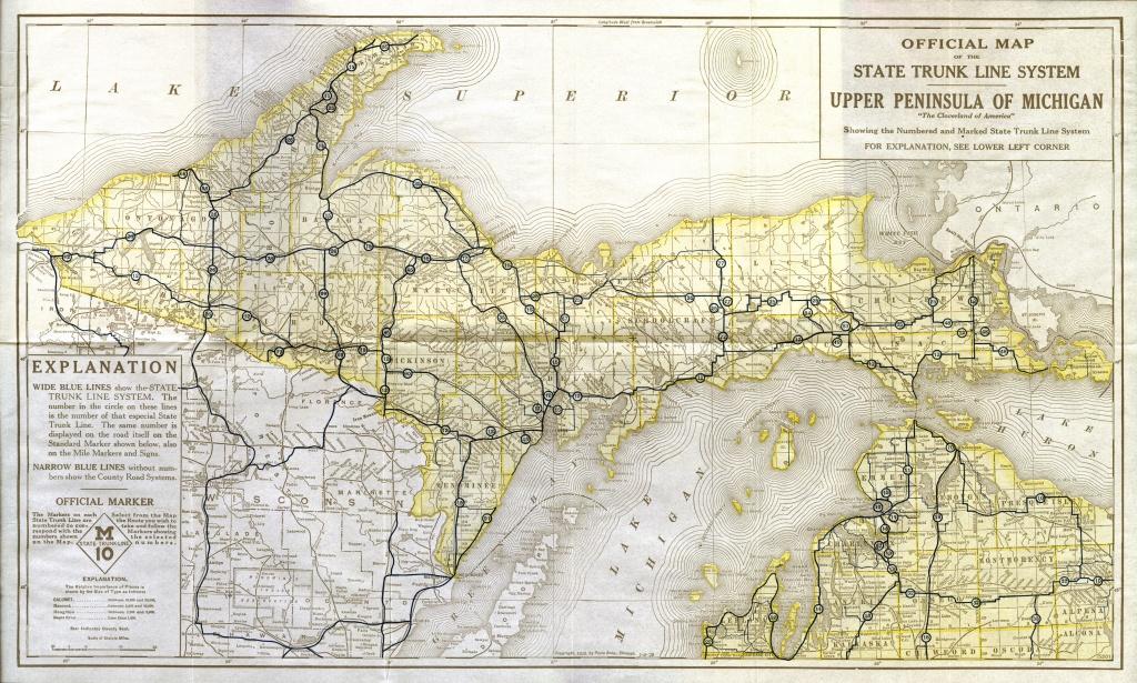 Michigan Road Map Printable And Travel Information | Download Free - Printable Upper Peninsula Map