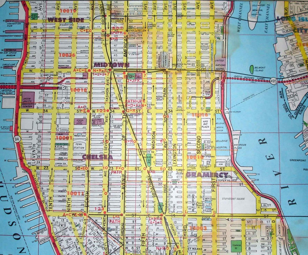 Midtown-New York City Street Map Red - Street Map Of New York City Printable