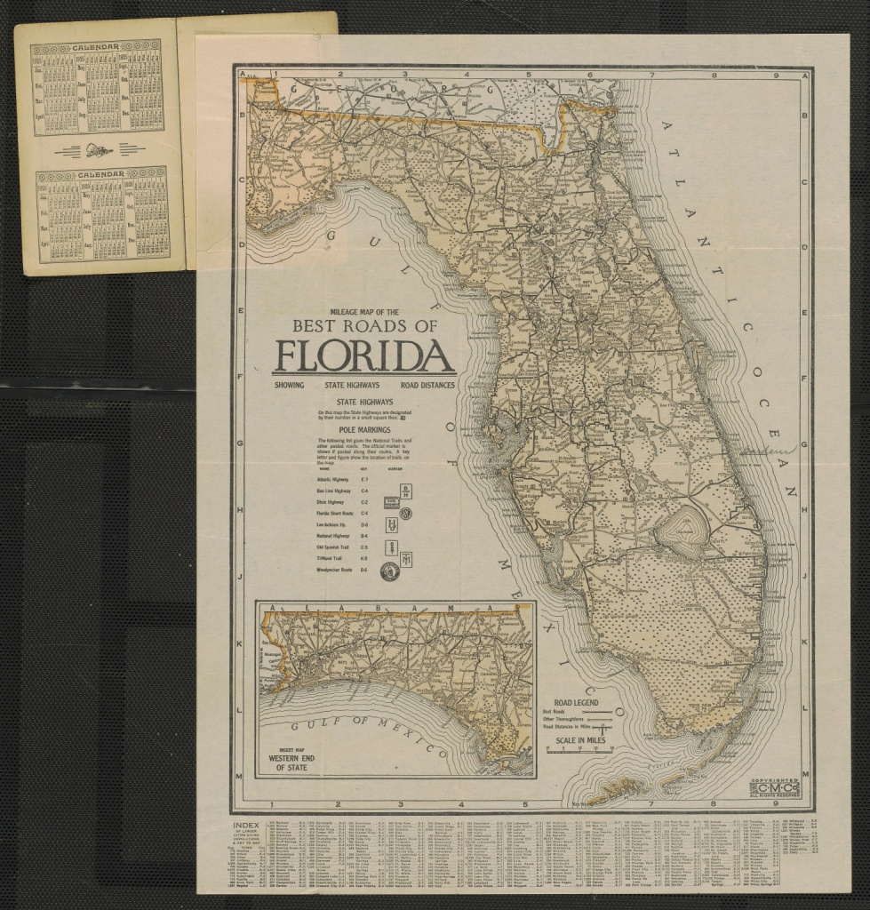 Mileage Map Of The Best Roads Of Florida Showing State Highways Road - State Of Florida Map Mileage