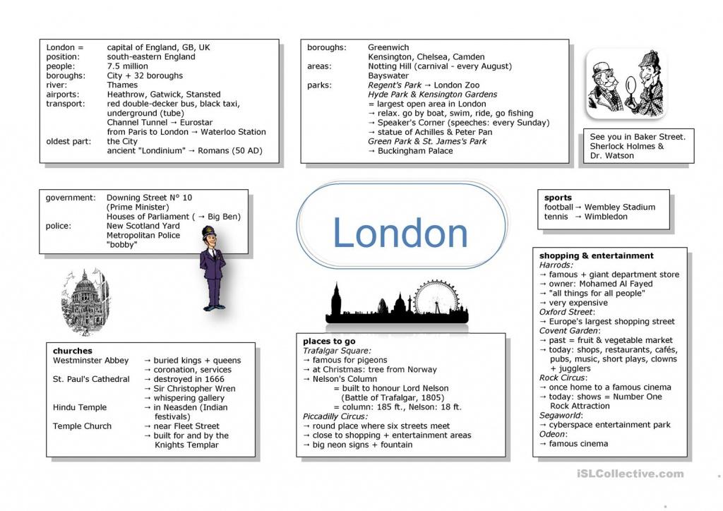 Mind Map London Worksheet - Free Esl Printable Worksheets Made - Printable Mind Maps For Students