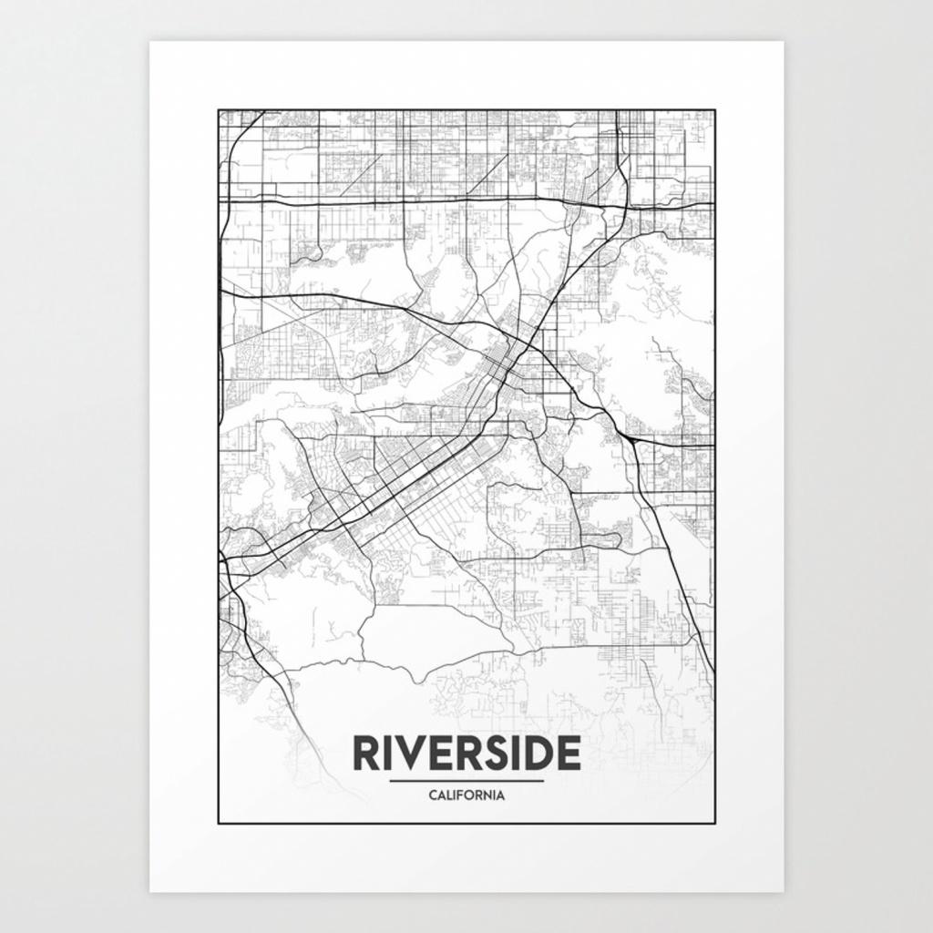 Minimal City Maps - Map Of Riverside, California, United States Art - Printable Map Of Riverside Ca