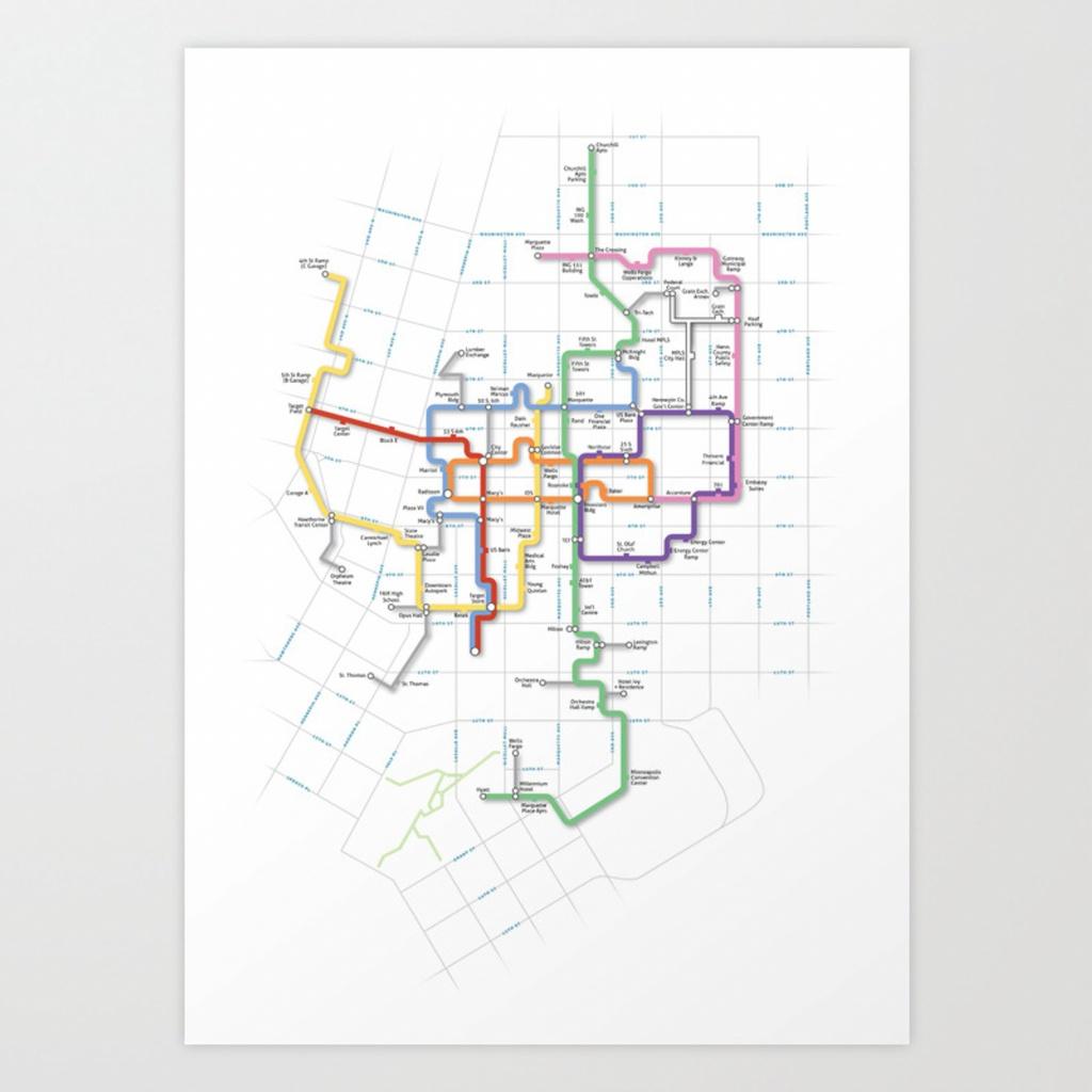Minneapolis Skyway Map Art Printcarticulate | Society6 - Minneapolis Skyway Map Printable
