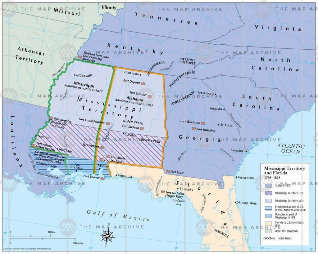 Mississippi Territory And Florida 1798–1818 - Mississippi Florida Map