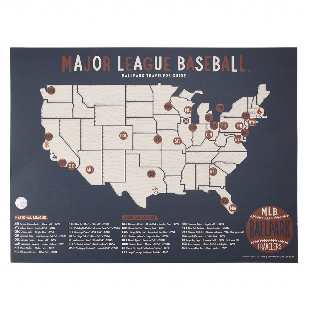 Mlb Ballpark Traveler's Map | Ball Fields, Sports | Uncommongoods - Printable Map Of Mlb Stadiums