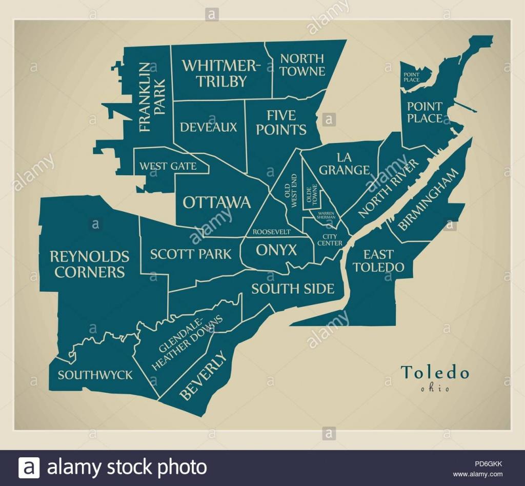 Modern City Map - Toledo Ohio City Of The Usa With Neighborhoods And - Printable Map Of Toledo Ohio