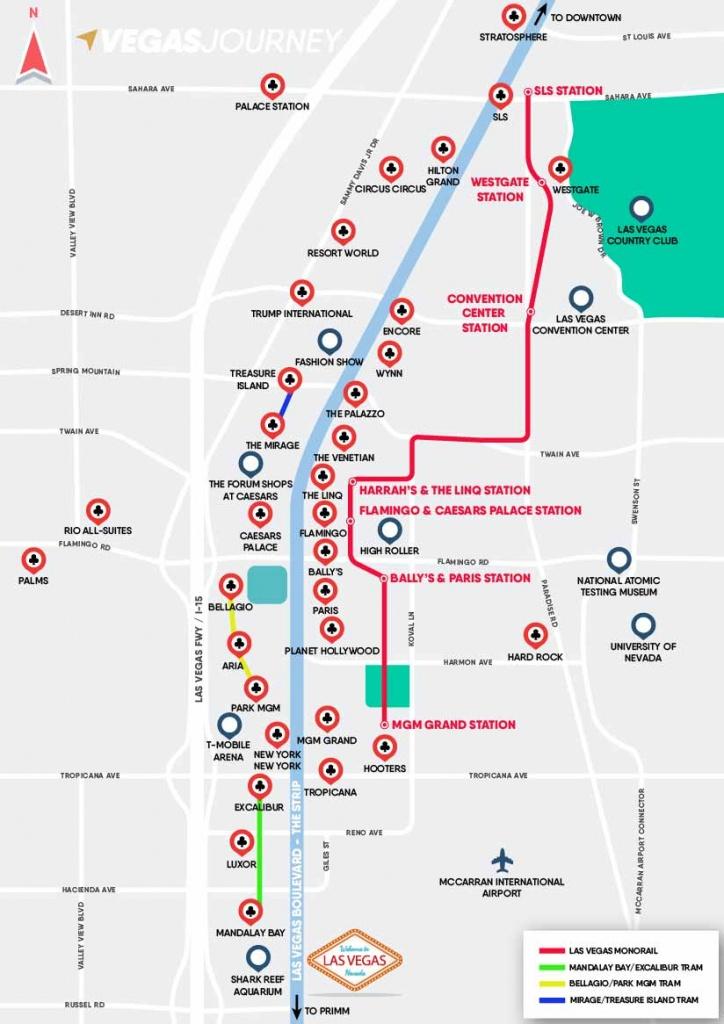 Monorail, Tram & Strip Map   Las Vegas Maps   Vegasjourney - Printable Las Vegas Strip Map 2017