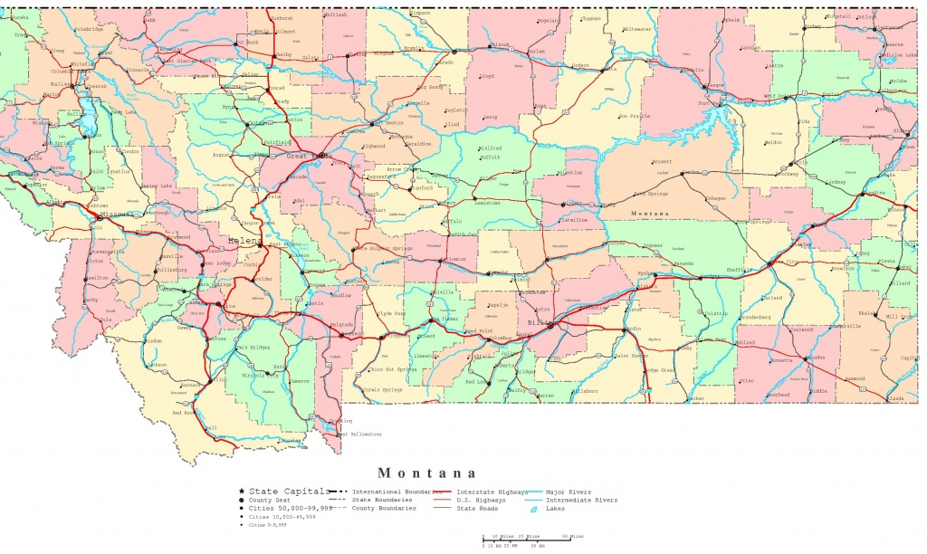 Montana Printable Map - Printable Road Maps By State