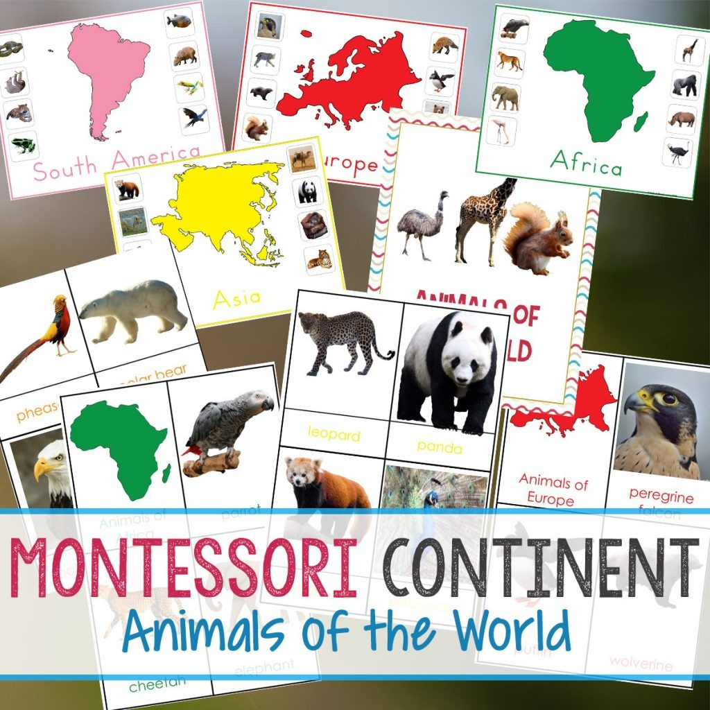 Montessori Animals And Continents Printables And Activities - Montessori World Map Free Printable