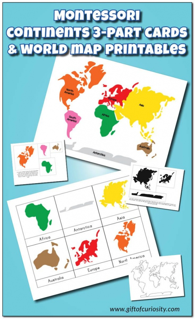Montessori Continents 3-Part Cards And World Map Printables | 5 - Montessori World Map Printable