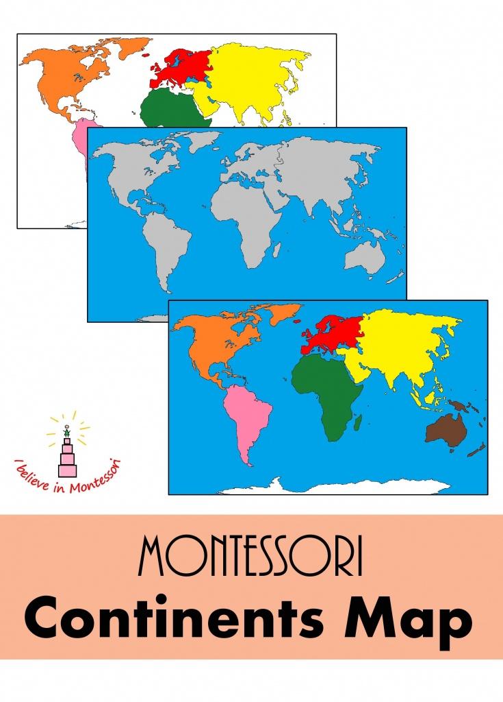 Montessori Continents Map | Montessori | Fle - Montessori World Map Printable