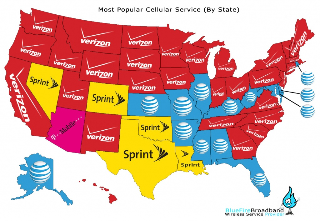 Most Popular Cellular Service Provider (By State) | Blue Fire - Texas Cell Phone Coverage Map