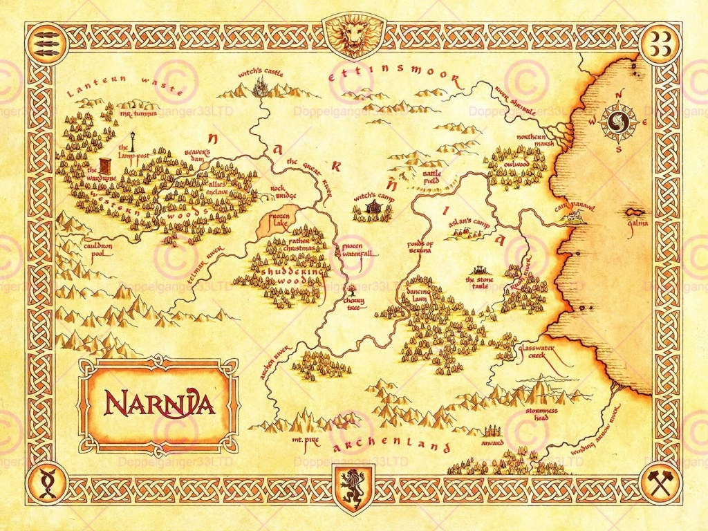 Movie Film Map Narnia Lewis Classic Sci Fi Poster Print Lv10152 For - Printable Map Of Narnia