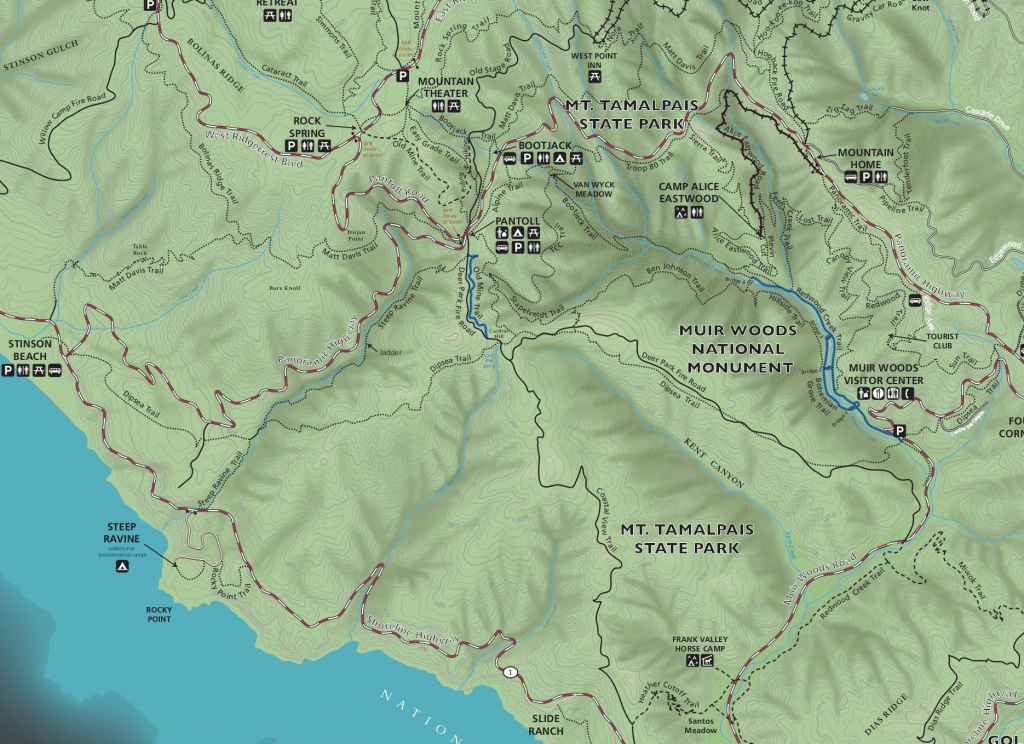 Muir Woods Maps | Npmaps - Just Free Maps, Period. - Muir Woods Map California