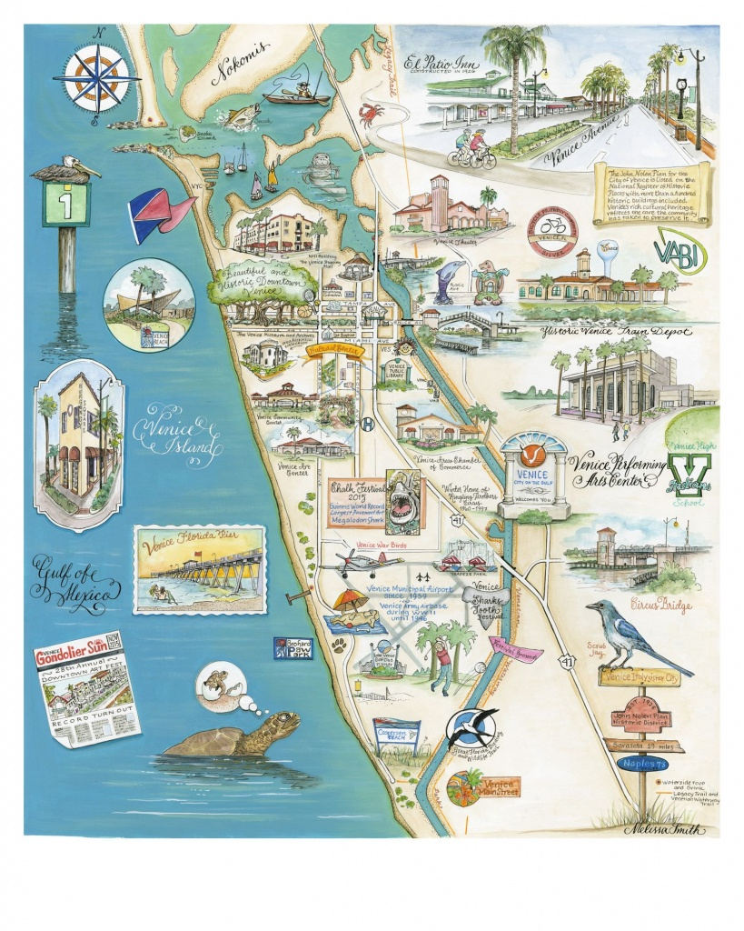 My Home Town, Beautiful And Historical Venice Florida. Custom Map - Venice Beach Florida Map