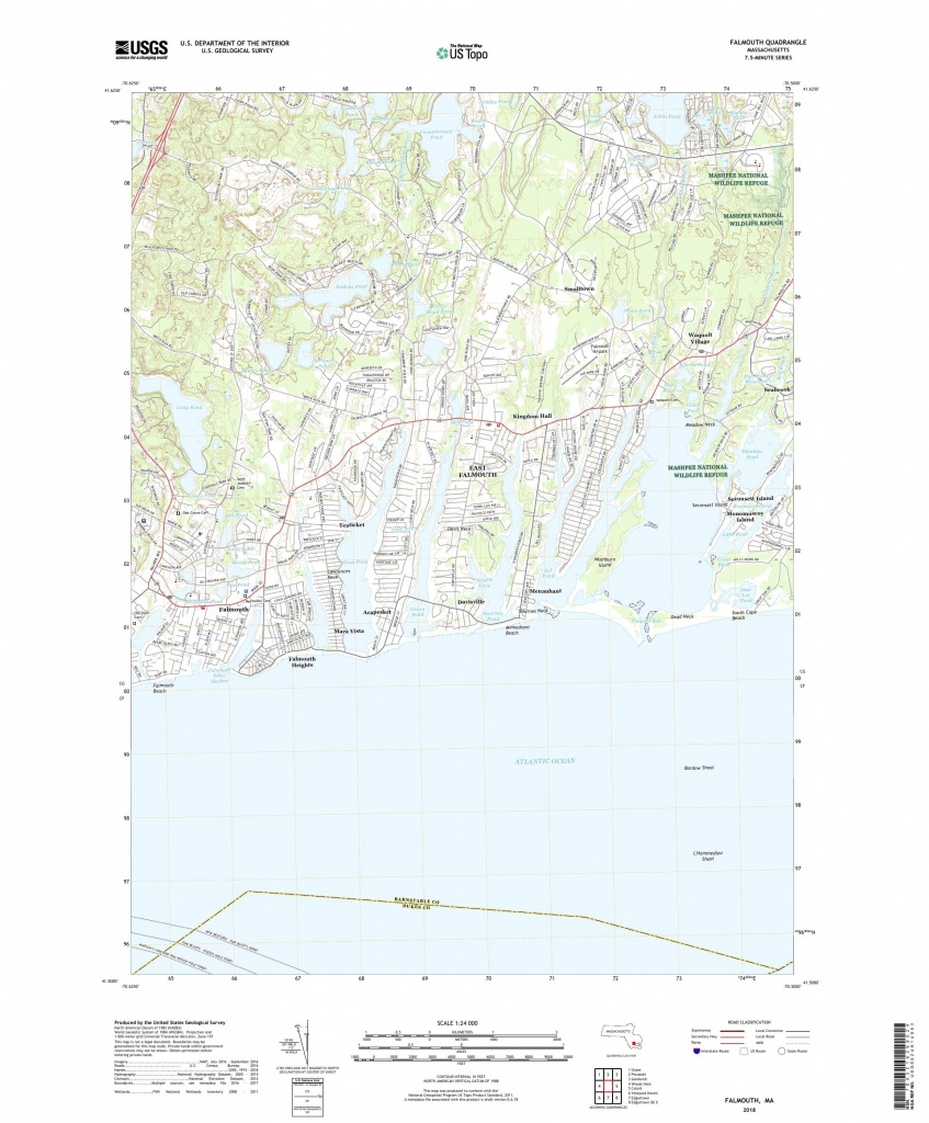 Mytopo Falmouth, Massachusetts Usgs Quad Topo Map - Printable Map Of Falmouth Ma