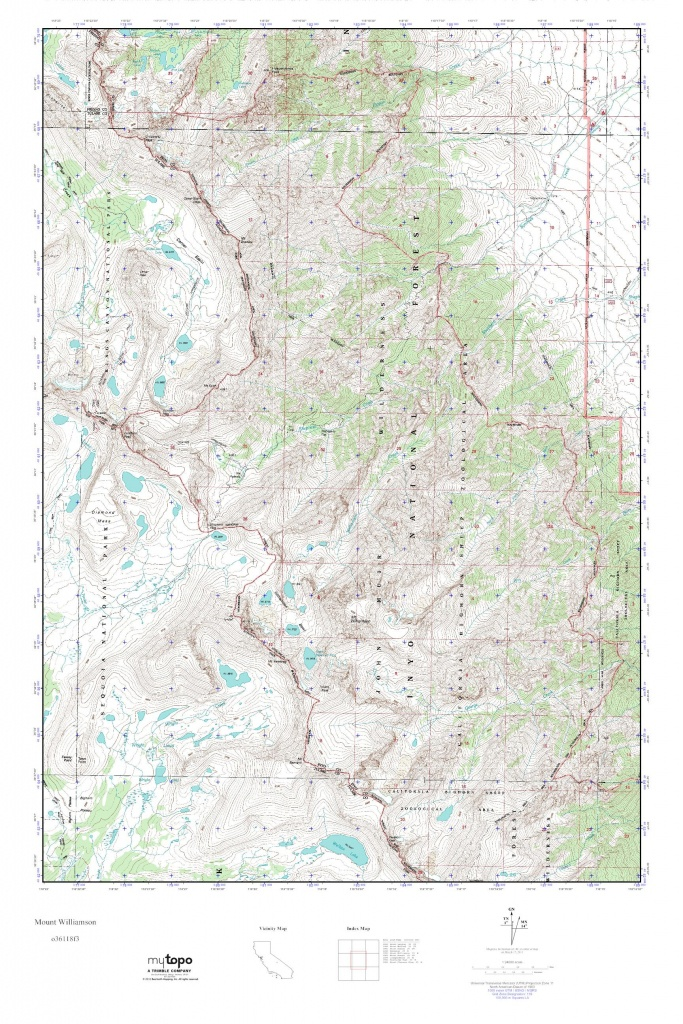 Mytopo Mount Williamson, California Usgs Quad Topo Map - Usgs Topo Maps California