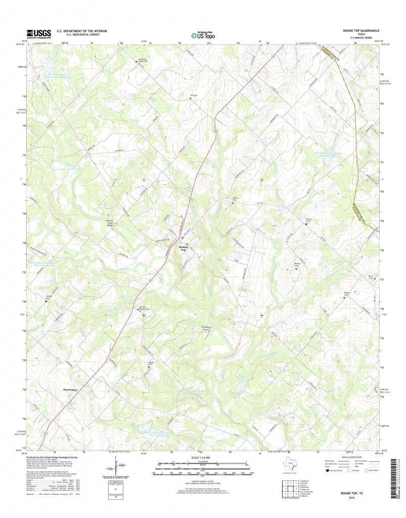 Mytopo Round Top, Texas Usgs Quad Topo Map - Round Top Texas Map