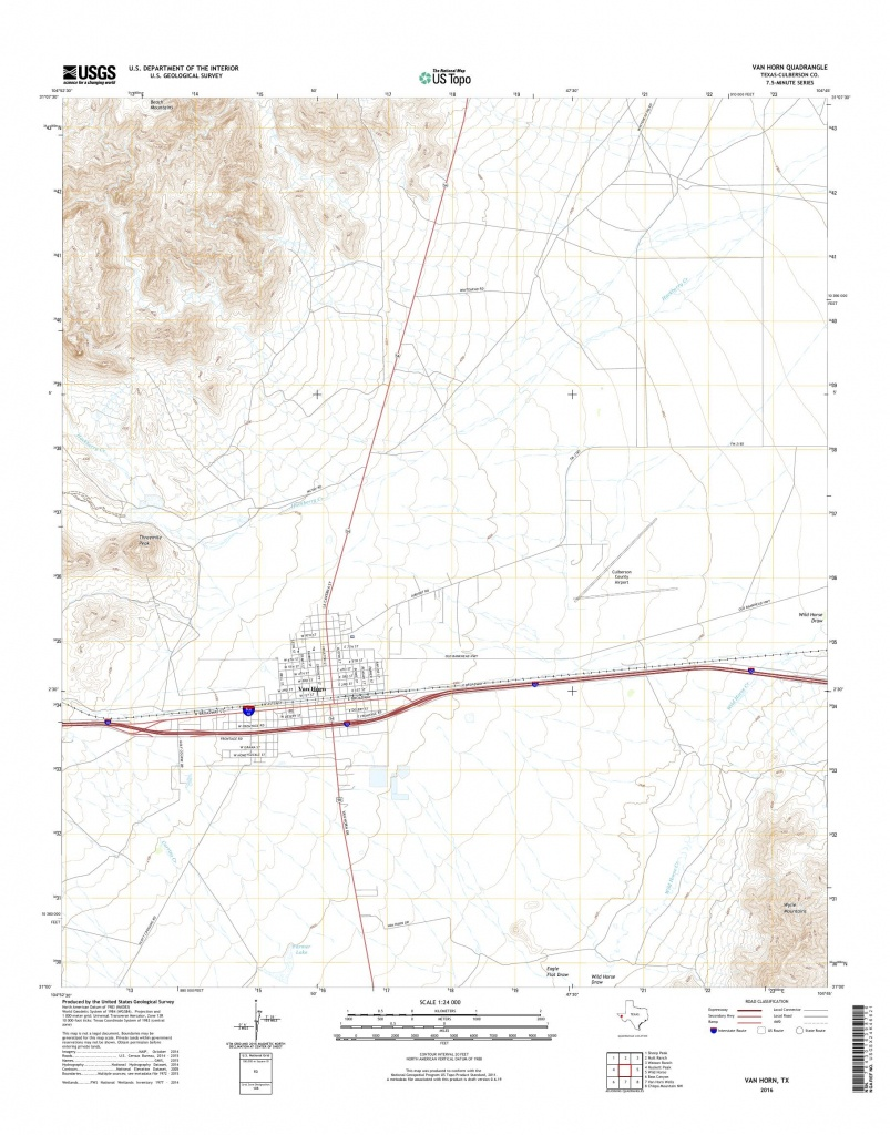 Mytopo Van Horn, Texas Usgs Quad Topo Map - Van Horn Texas Map