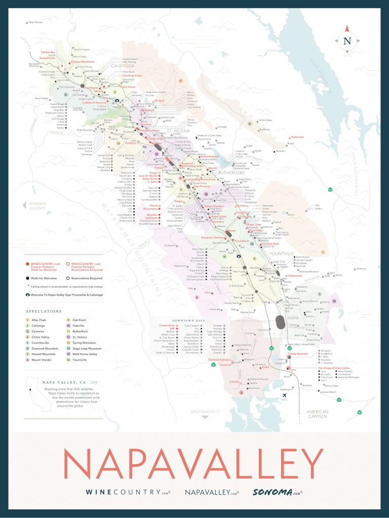 Napa Valley Wine Country Maps - Napavalley - Sonoma Wineries Map Printable