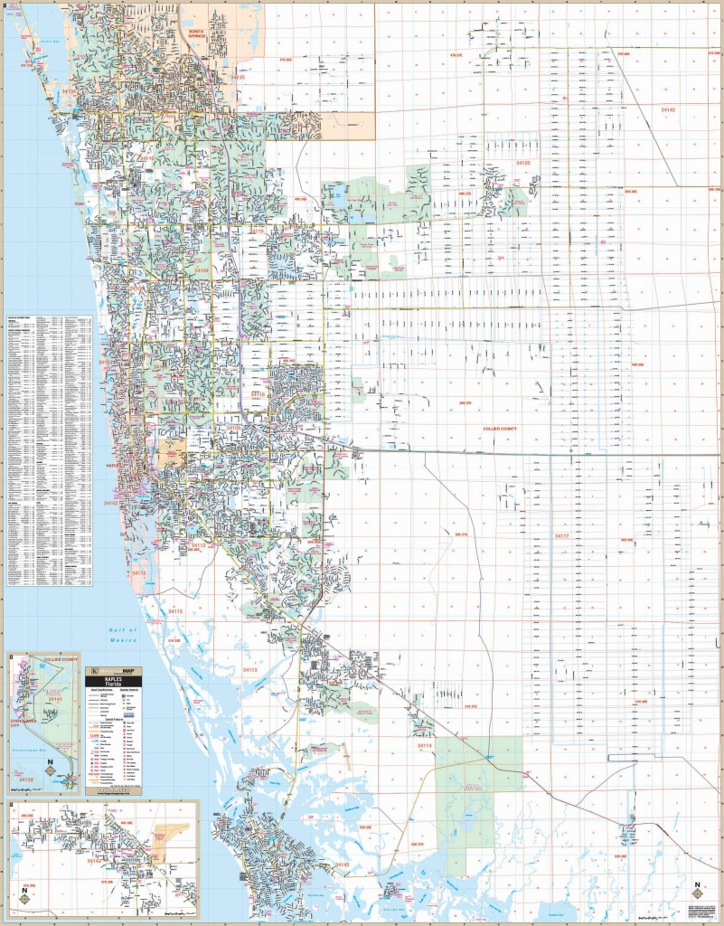 Naples & Collier Co, Fl Wall Map - Map Of Bonita Springs And Naples Florida