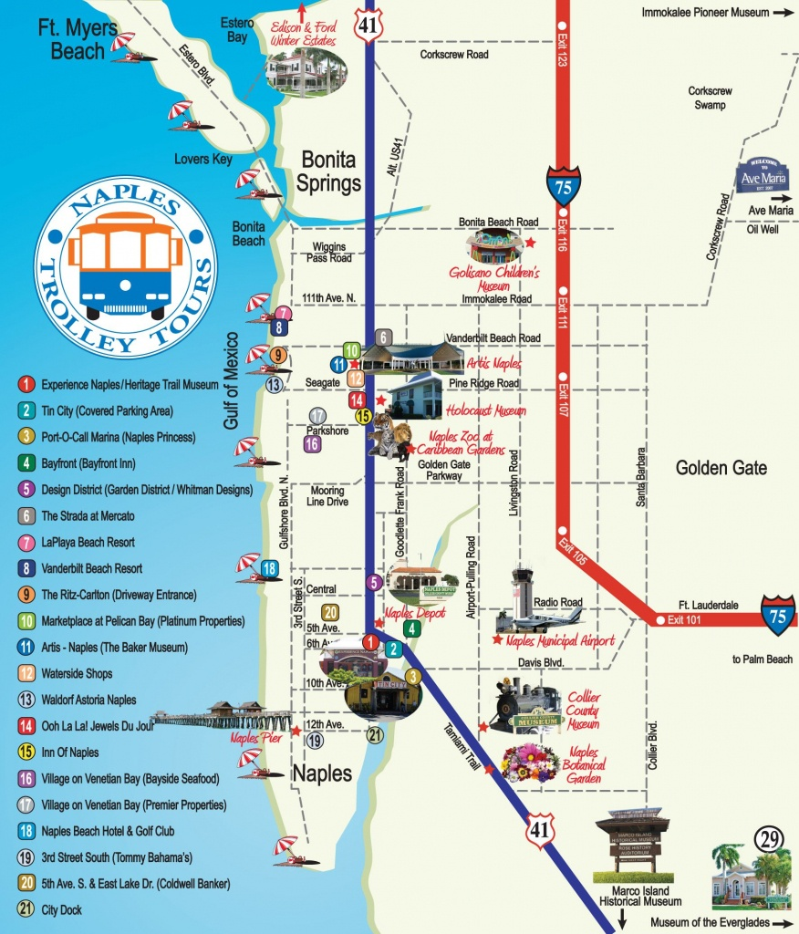 Naples Trolley Tours - Route Map | Florida | Map, Florida, Naples - Naples Florida Attractions Map