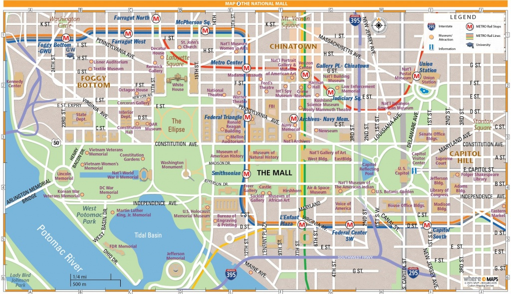 National Mall Map In Washington, D.c.   Wheretraveler - Printable Map Of Downtown Dc