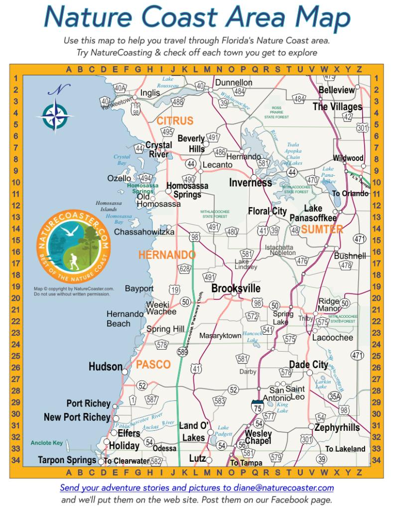 Nature Coast Area Map : Naturecoaster - Florida Coast Map