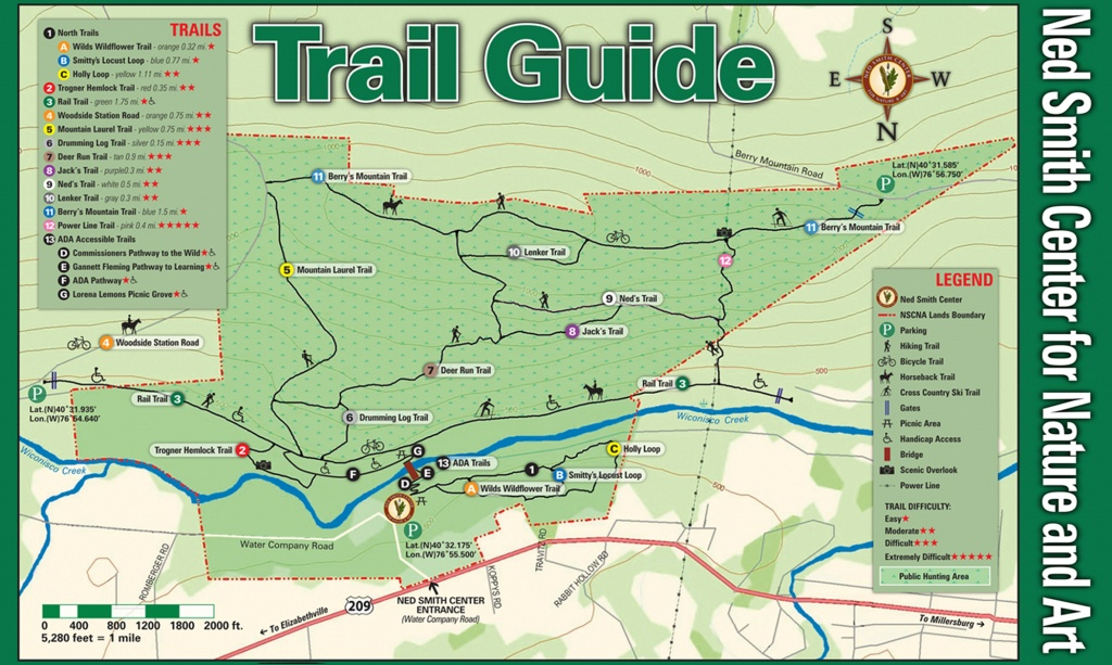 Ned Smith Center Lands And Trails | Ned Smith Center For Nature And Art - Printable Trail Maps