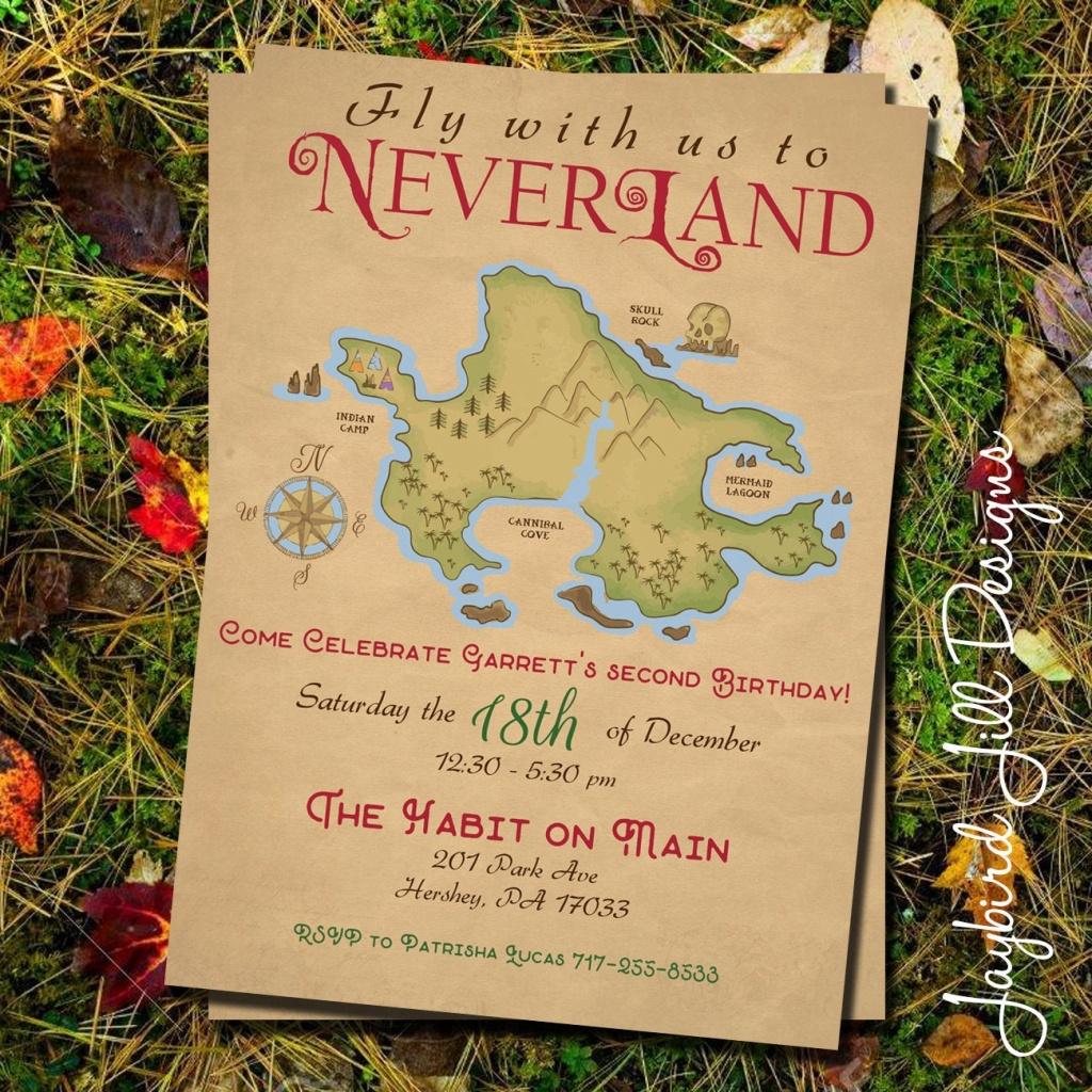 Neverland Birthday Party Invitation / Peter Pan Party / Treasure Map /  Peter Pan Birthday / Lost Boys Birthday / Neverland Party Printable - Neverland Map Printable
