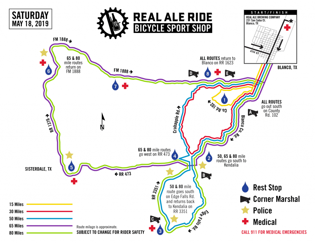 New 2019 Date: Real Ale Ride Online Registration - Midnight Texas Map